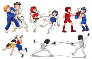 Set von Kids Wrestling und Fechten