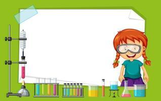Rahmenschablone mit dem Mädchen, das Experiment tut