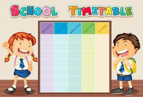 Stundenplan mit Schülern vektor