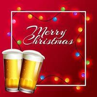 Weihnachtskarte mit Lichtern und Bier vektor