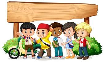 Leeres Holzschild mit Kindern vektor