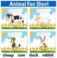 Tierspaß Blatt Konzept vektor