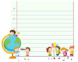 Pedagogisk blankpappmall med studenter vektor