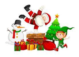 Jultomten och älva på skorstenen vektor