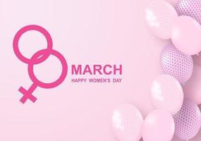 Kvinnadagsdesign med rosa ballonger och kvinnlig symbol