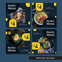Elegant mat sociala medier post blå vektor