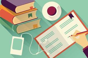 In Notizbuchhintergrund mit Büchern und Kaffee schreiben