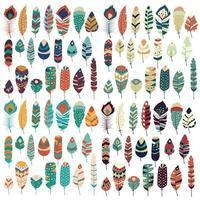 Samling av boho vintage stam etniska handritade färgglada fjädrar