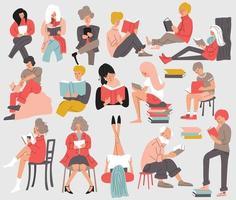 Grupp människor som läser böcker