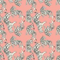 Handritad tiger sömlös mönster
