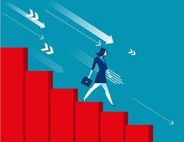 Geschäftsfrau, die unten mit wirtschaftlicher Rezession umzieht