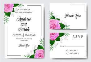 akvarell bröllopinbjudan med rosor på vitt vektor