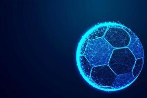 glödande blå låg poly fotboll eller fotboll