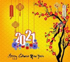 Chinesisches Neujahr 2021 mit Blüten auf gelb hängen