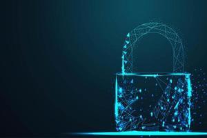 tråd låga poly cyber lås säkerhetshänglås vektor