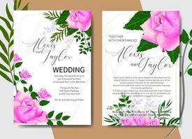 akvarell bröllop inbjudningskort med rosor i hörn vektor