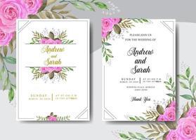 akvarell bröllop inbjudan med ram vektor