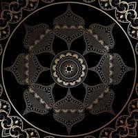 goldenes Mandala mit Blumenverzierung vektor