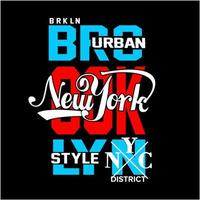 brooklyn och New York typografidesign vektor