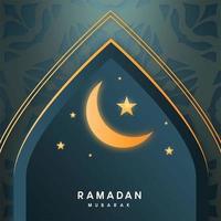 Ramadan Kareem Torbogen mit Mond und Sternen vektor
