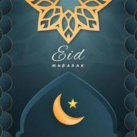 eid mubarak måne och stjärna i moqsue