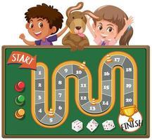 Brettspiel mit Kindern und Hund im Hintergrund