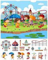 Szenenhintergrunddesign mit vielen Kindern im Zirkus vektor