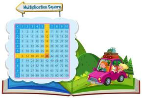 Multiplikationsquadrat mit Paar in einem Auto vektor
