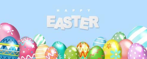 glückliches osterblaues Banner mit bunten Eiern