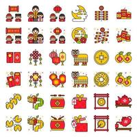 kinesiska nyåret Ikonuppsättning
