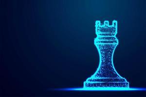 Schach Turm Drahtrahmen Polygon blaue Rahmenstruktur vektor