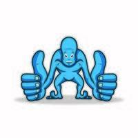 blauer Mann Charakter, der Daumen aufgibt vektor