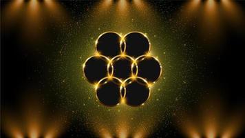 gyllene cirkel bakgrund med ljus