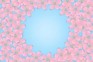 rosa körsbärsblommning sakura blomma ram vektor