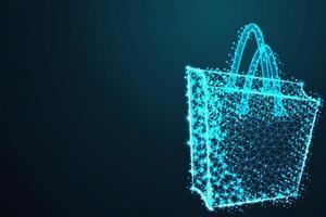 modernes blaues Poly-Einkaufstaschendesign vektor