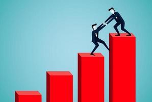 Ein Geschäftsmann hilft dabei, eine Person hochzuziehen vektor