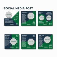 sociala medier post menyuppsättning vektor