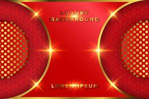 lyxig röd och guld glödande cirkel design