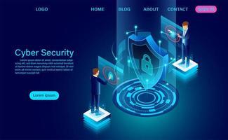 Banner mit Geschäftsleuten, die Daten schützen