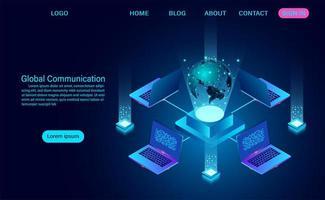 Datentechnologie-Banner mit Laptops und Globus