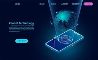 Smartphone mit globalem Tech-Konzept. vektor