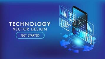 isometrische Smartphone- oder Tablet-3D-Schnittstelle vektor