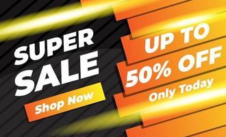 orange und schwarz leuchtendes Super Sale Banner