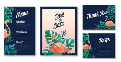 Hochzeitskarte mit Flamingo und Blättern vektor