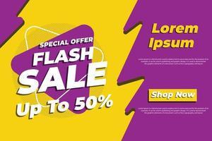 gelbes und lila Verkaufsplakat für soziale Medien