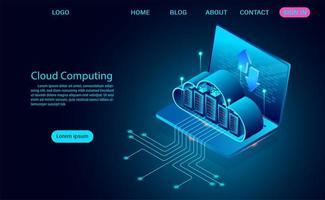 Cloud-Computing-Konzept mit Servern auf Laptop vektor