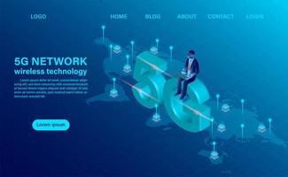 banner 5g nätverk trådlös teknik koncept