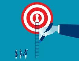 hand dra vägen upp för affärskvinna till framgång