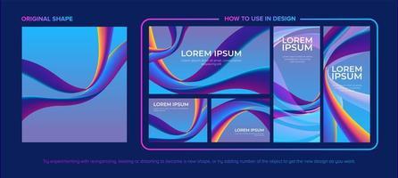 böjd blå och lila linje form design pack