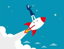 Start Geschäftsfrau auf Rakete stehen